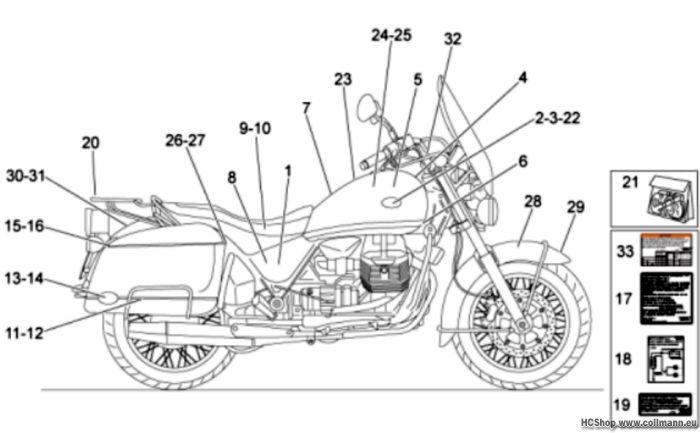 Moto Guzzi Aufkleber-Deko California Vintage 1100