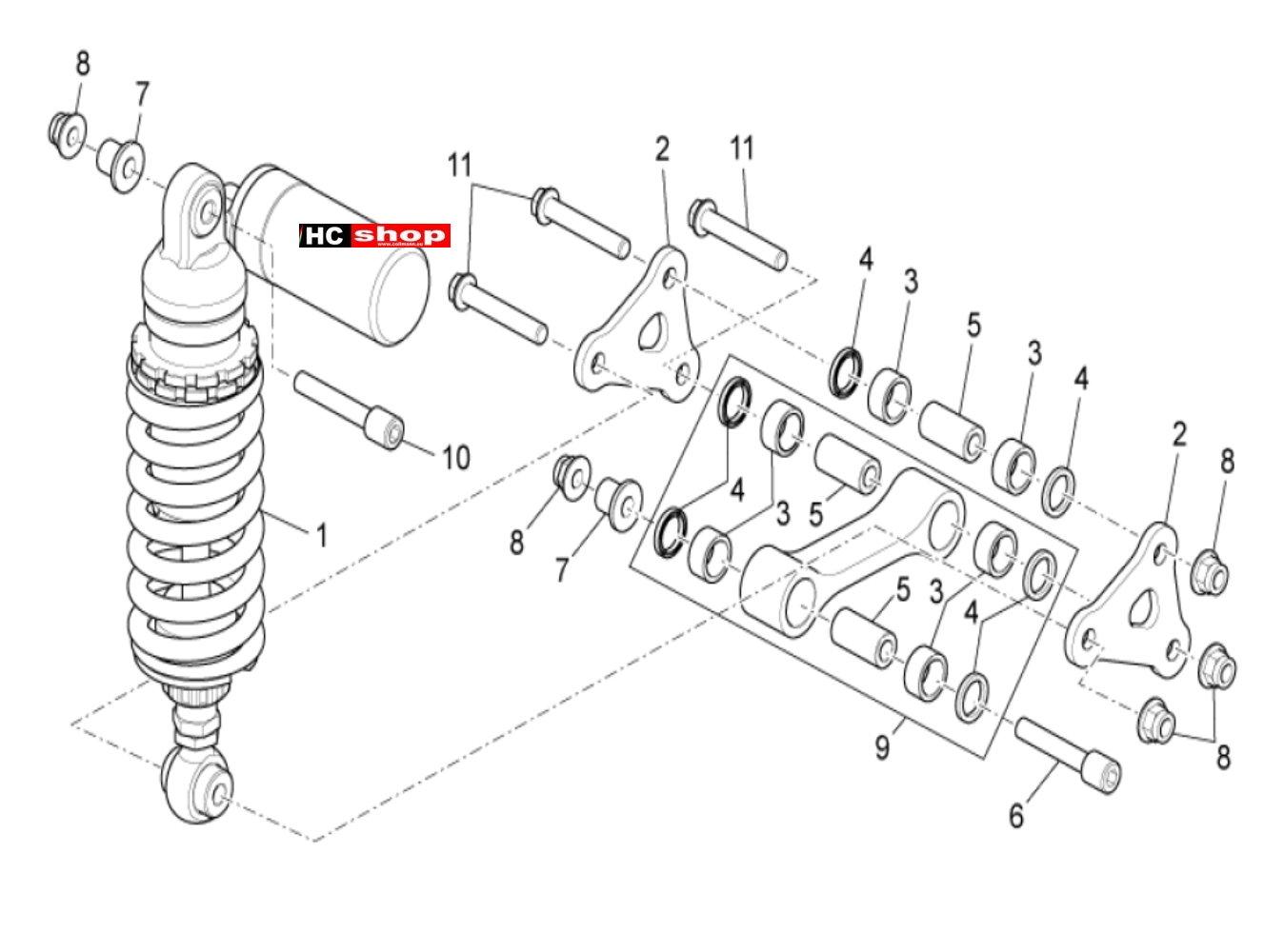 Aprilia Tuono V4 1100 Factory E4 ABS Radaufhängung