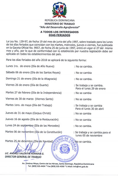 Calendario de días feriados en República Dominicana.