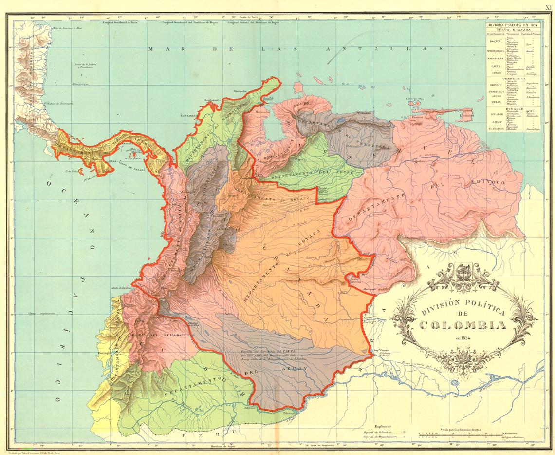 Oude landkaart van Colombia uit 1824