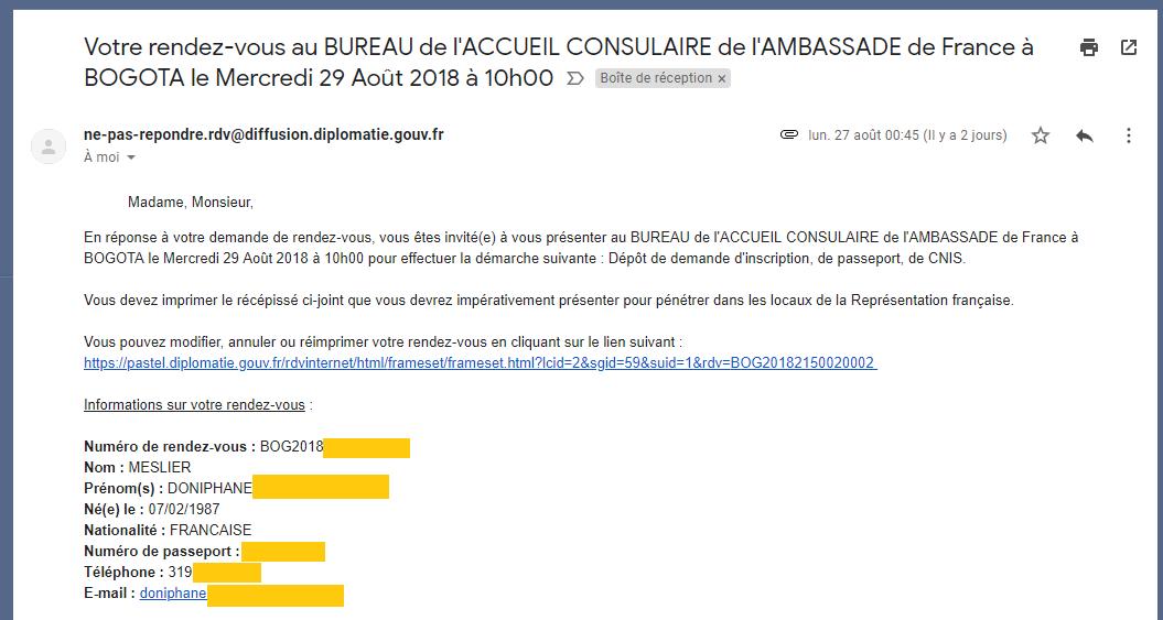 RDV mail ambassade passeport