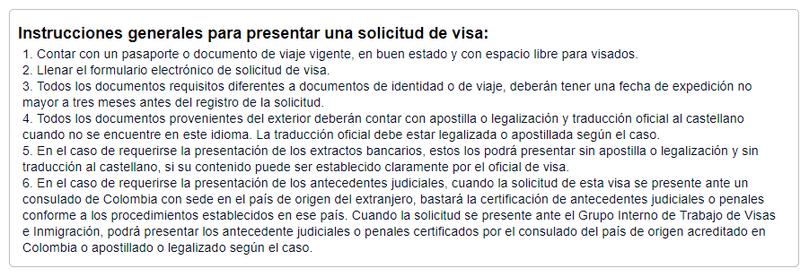 liste documents demande de visa colombien