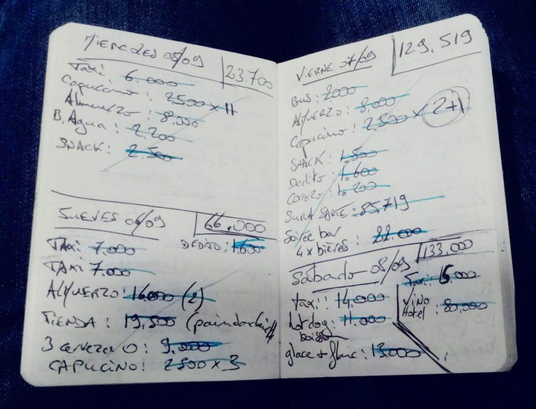 Carnet de notes budget Colombie Doniphane M.