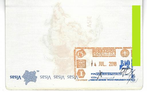 Passeport 90 jours de permis de séjour en Colombie