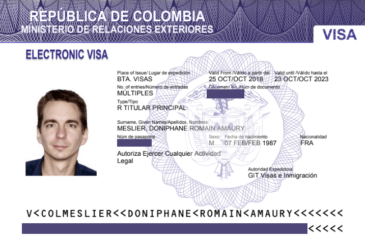 Version électronique du visa colombien