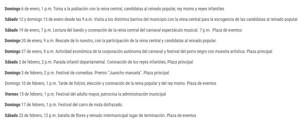 carnaval de Santo Tomas 2019 : agenda Colombie