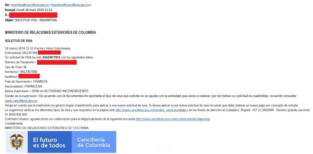 Refus de délivrance de visa M (migration colombienne)
