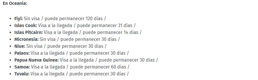Países a donde colombianos pueden viajar sin visa.