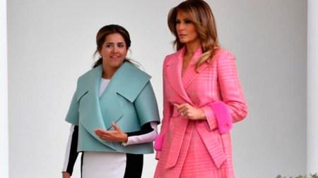 46510fb690 Esposa de Duque generó críticas y burlas por vestido que usó en visita a  Trump