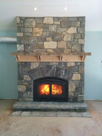 Elite Blue Granite & Harvest Gold Limestone Tumbled Random Blend Fireplace