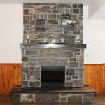 Elite Blue Granite fireplace mantle and hearth