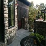 black limestone square cut patio flag