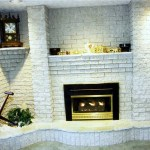 brick white fireplace