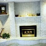 brick white fireplace