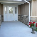 brown and black limestone ledgerock blend house entrance