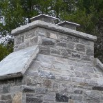elite blue granite outdoor fireplace chimney detail
