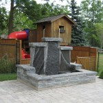 elite blue granite pillar water feature front side
