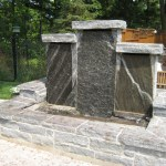 elite blue granite pillar water feature front view