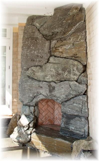 Elite Blue Granite Rustic Slabs Outdoor Fireplace
