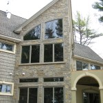 harvest gold limestone squared and ledgerock blend house