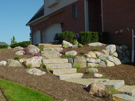 Harvest Gold Limestone Squared Steps