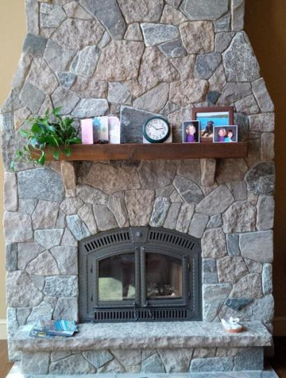 Harvest Gold Limestone with Elite Blue Granite Tumbled Random Fireplace
