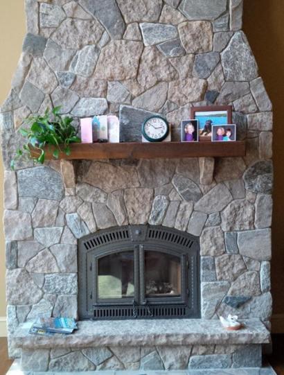 Harvest Gold Limestone with Elite Blue Granite Tumbled Random Fireplace