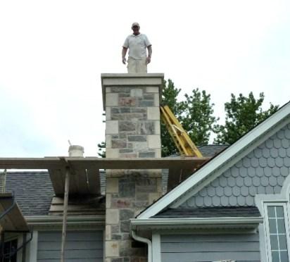 split fieldstone & elite blue granite sawn and chiseled chimney