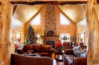 Log Home | Living Room with Fireplace and Posts at ...