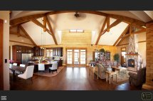 Log Home Open Concept With Timberframe Vaulted Ceiling