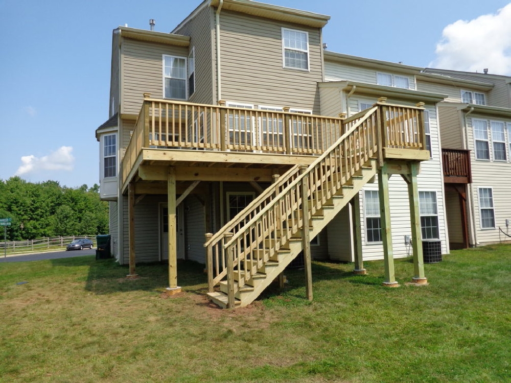 Pressure Treated Cedar Decks | Pressure Treated Deck Stairs | Flared | 5 Foot | Landing | Pre Built | Simple
