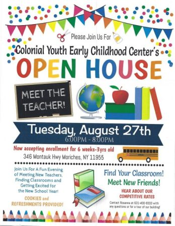 Open House for Colonial Youth Early Childcare Center @ Colonial Youth Early Childcare Center | Moriches | New York | United States