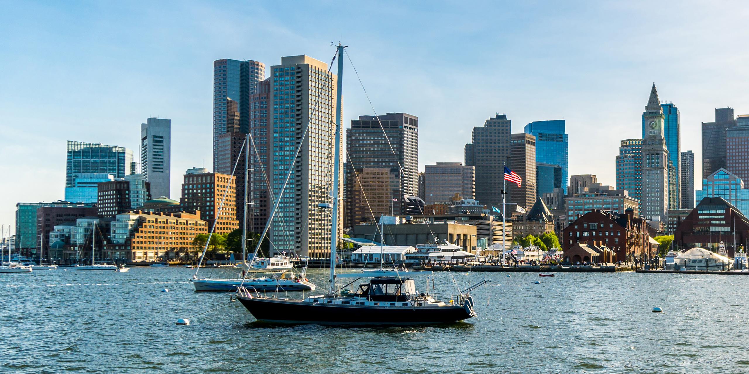 boats at a city pier