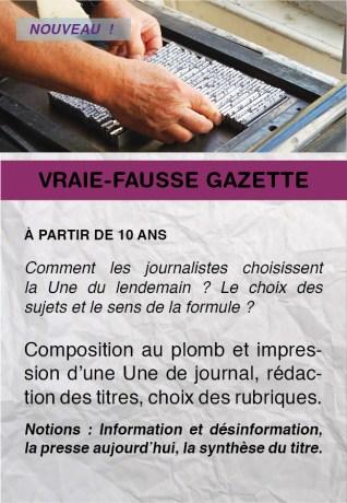 Ateliers Livre - Vraie Fausse Gazette