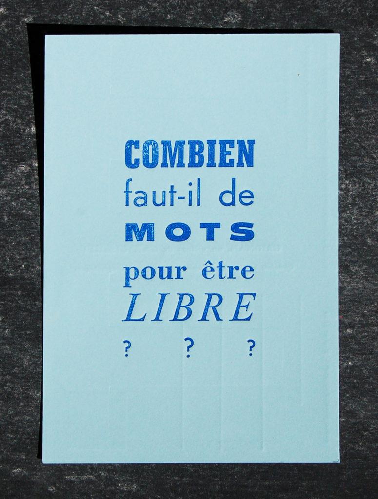 Carte postale Letterpress Combien de mots ? - Colophon, Maison de l'Imprimeur
