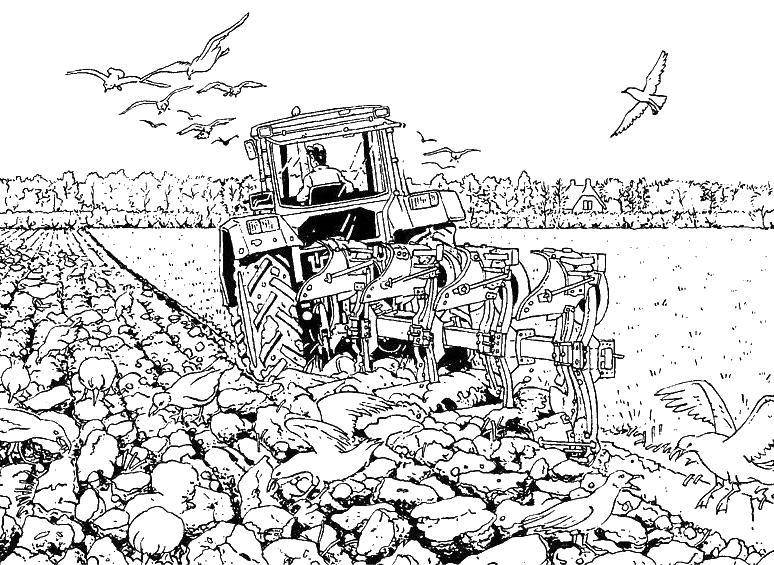 kleurplaat tractor en kar kleurplaat