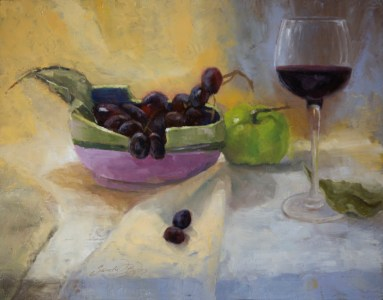 """""""Chopstick Bowl and Wine""""$925 (11 x 14 oil on panel). I sculpted the chopstick bowl several years ago and find it suitable for so many things besides just chopsticks."""