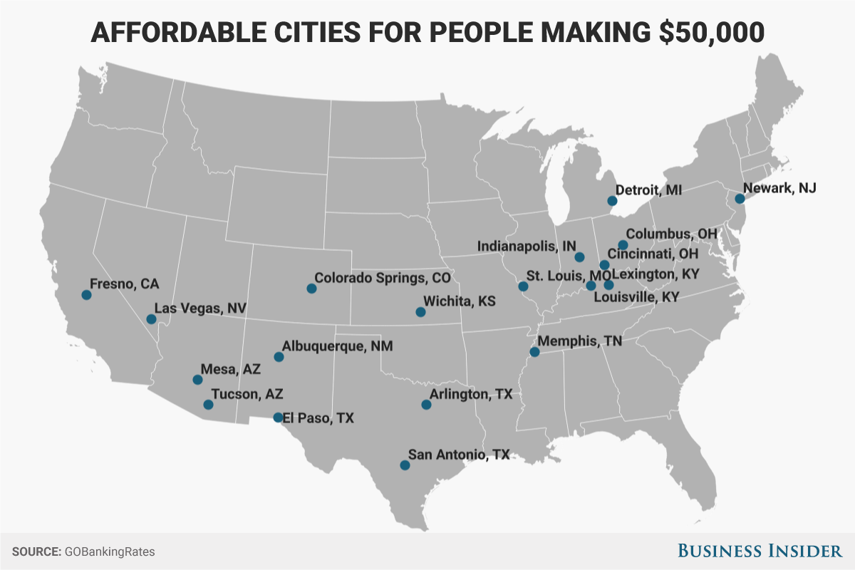 19 us cities where you can live comfortably on less than for Building a house for less than 50k