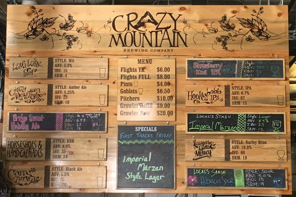 Crazy Mountain Brewery Menu