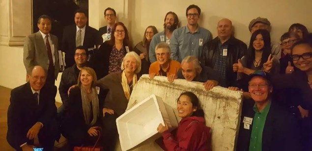 Councilmembers Gene Masuda and Victor Gordo (far left) with a group of citizens after the meeting(Photo -©ColoradoBlvd.net).