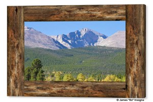 Colorado Longs Peak View Rustic Wood Window Canvas Print