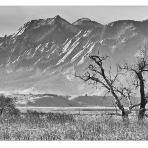 "Boulder Colorado Snowy Front Range View In Black and White 32""x48""x1.25"" Premium Canvas Gallery Wrap"