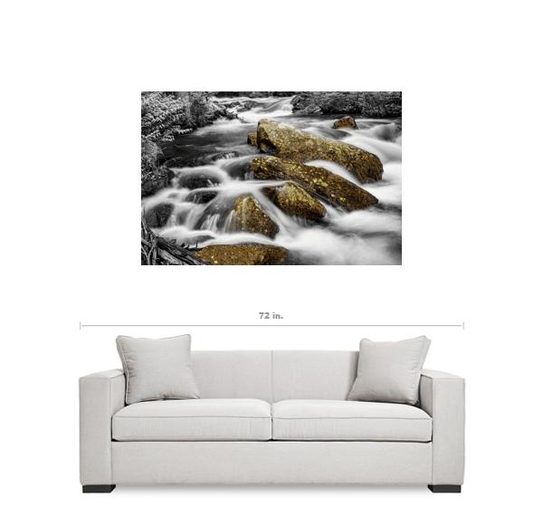 "Cascading Water and Rocky Mountain Rocks BWSC 32""x48""x1.25"" Premium Canvas Gallery Wrap Art"