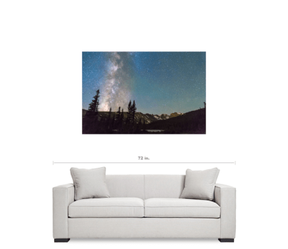 """Middle of the Night Milky Way Above the Rocky Mountains 32""""x48""""x1.25"""" Premium Canvas Gallery Wrap Art"""
