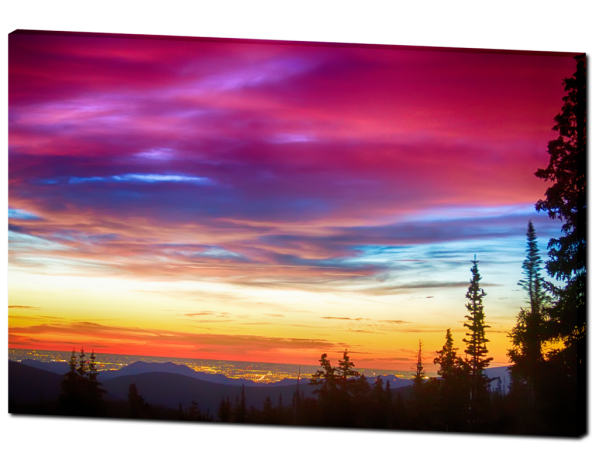 """City Lights Sunrise View From Rollins Pass 32""""x48""""x1.25"""" Premium Canvas Gallery Wrap Art"""
