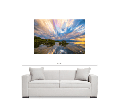 """Sunset Lake Reflections Timed Stack 32""""x48""""x1.25"""" Premium Canvas Gallery Wrap Art"""