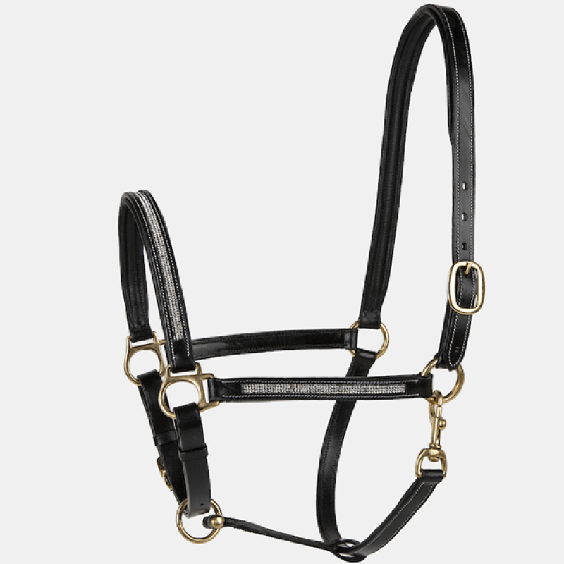 Lettia Rhinestone Padded Leather Halter - Valentines Day Gift Idea