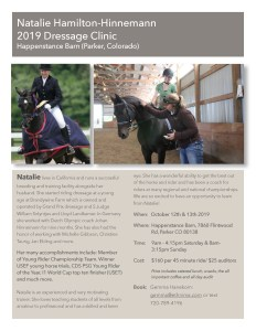 Dressage Clinic with Natalie Hamilton-Hinnemann @ Happenstance |  |  |