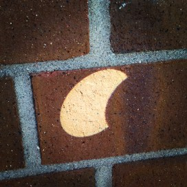 The partial solar eclipse projected through a binocular lens and projected on the patio wall.