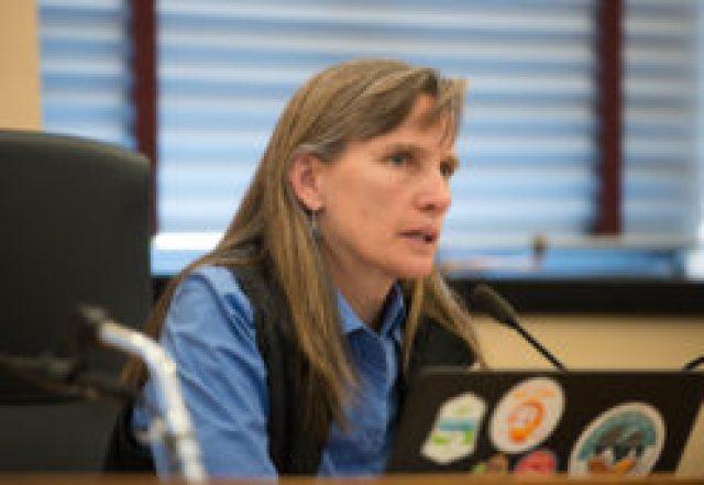 Boulder County Commissioner Elise Jones as she explains the reasons to end Boulder's oil and gas moratorium. (Photo by Ted Wood/The Story Group.)